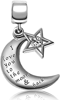 JMQJewelry I Love You to The Moon & Back Charms 3 Colors Valentine's Dangle Bead for Bracelets