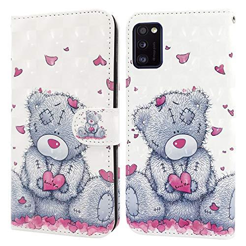 Ailisi Samsung Galaxy A41 Hülle Teddy Bear 3D Muster Handyhülle Schutzhülle PU Leder Wallet Case Flip Case Klapphüllen Brieftasche Ledertasche Tasche Etui im Bookstyle