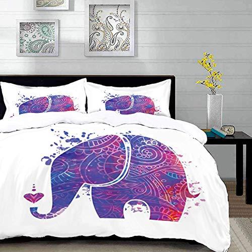 ropa de cama - Juego de funda nórdica, yoga, silueta de elefante floral étnico con salpicaduras de color y un pequeño corazón, rosa azul y ve, juego de funda nórdica de microfibra con 2 fundas de almo