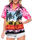 LA LEELA Women's Swim Hawaiian Shirt Office Wear Short Sleeve Shirts M Pink_W964