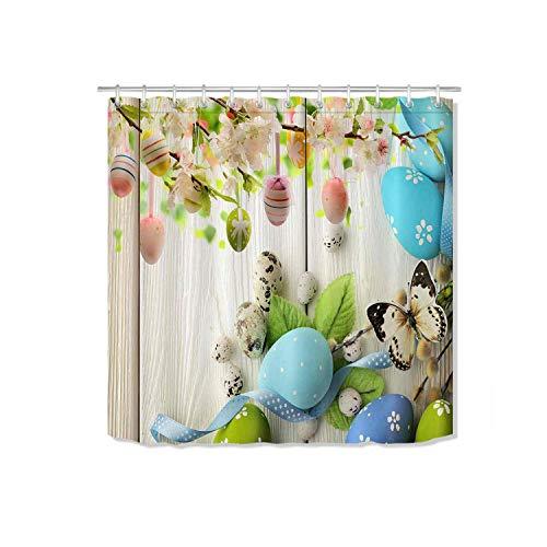 HOT-house Osterhase Polyester Duschvorhang Stoff Eier Kaninchen Zaun Blumen Wasserdichtes Badezimmer Extra Lange Badvorhänge Home Decor-15364-150 X180cm-60x72inch