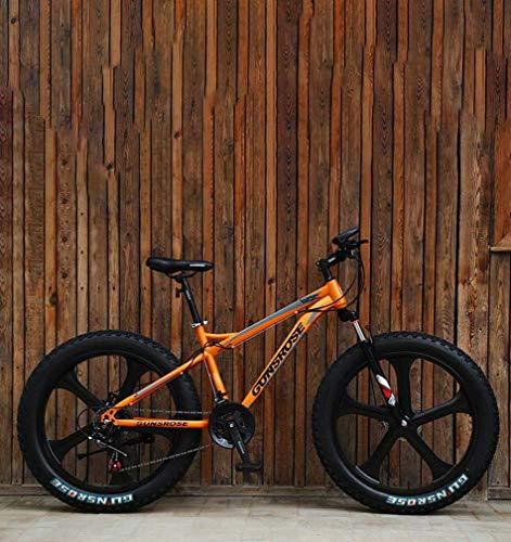 ZGYQGOO Fat Tire Adulti Mountain Bike, Doppio Freno a Disco in Acciaio /-Alto tenore di Carbonio Telaio Cruiser Bikes, Spiaggia motoslitta Bicicletta, 24 Pollici in Lega di magnesio Integrata Ruote