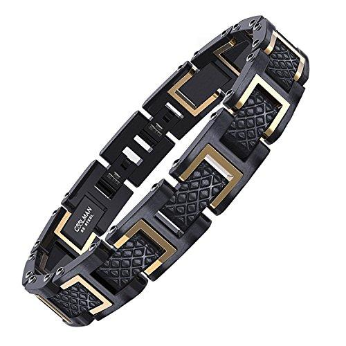 """COOLMAN Bracelets en Acier Inoxydable 316L pour Homme, Réglable, avec Boîte-cadeau, 20-22 cm (8 """"-8,7""""), série RacingLegend, Or & Noir"""