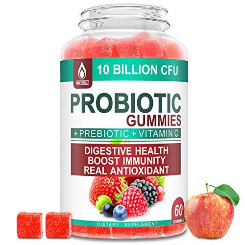 Probiotics Gummies, Probiotic Prebiotics Supplement for Women Men and Kids - 10 Billion CFU - Vegan Candy Supplements with Vitamin C Digestive Gut Immune Chewable Gummy, Gluten-Free