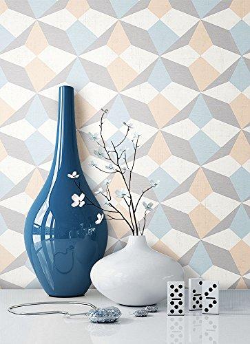 NEWROOM Tapete Beige Vliestapete Blau Grafik,Modern,Retro schöne moderne und edle Design Optik, inklusive Tapezier Ratgeber