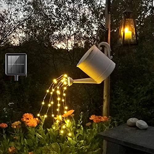 ANGMLN Solar-Lichterbündel Led, mit Fernbedienung, 2M Silberdraht Mirco Lichterkette wasserdichtes IP67 Lichterdraht gartendeko solar für Innen und Außen Warmweiß (keine Gießkanne)