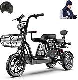 Bicicletta Elettrica, 3 della bici Bicicletta elettrica 500W elettrico for adulti 48V 11Ah 12 In Scooter elettrico con la serratura elettrica veloce caricabatteria con il casco e cappello sciarpa guan