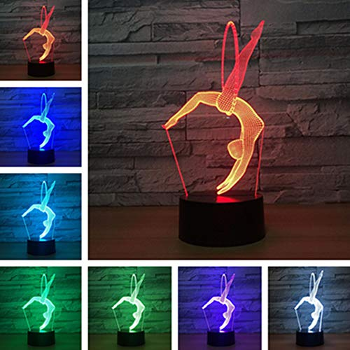 Aibote Gymnastics 3D LED Night Light Table Desk Illusion Lamp 7 Colors Change Lights Home Bedroom Decoration Boys Girls Gift(Gymnastics)