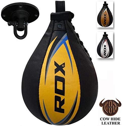 RDX Boxbirne Erwachsene Leder Set, Speedball Hängend Mit Halterung, Profi Punchingball Boxing Speed Bag, Geschwindigkeit Ball Boxen Training Trainingsgeräte