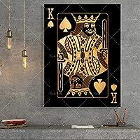 抽象的な金と銀のトランプキングクイーンとジャックhdプリントクラブバーレストラン装飾プケポスター60X80cm24x32インチフレームなし