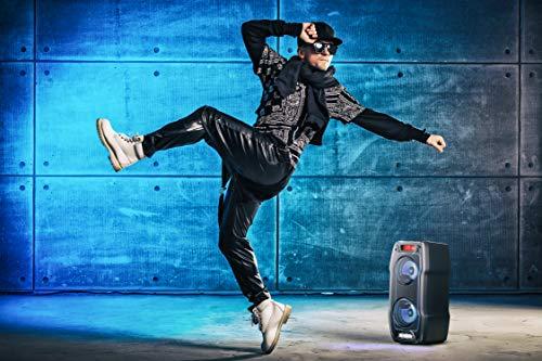 SHARP PS 929 Partylautsprecher mit eingebautem Akku, DJ-Mischpult ,14 Stunden Wiedergabezeit, Bluetooth, TWS: Koppeln eines weiteren Gerätes, Super-Bass-Einstellung, Karaoke-Funktion, Lichtshow, 180 W