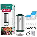 Vacuum Sealer 35pcs Food Vacuum Sealer Machine USB Rechargeable with 20 Pack Reusable Food Sealer Bags for Sous Vide Cooking and Food Storage-Green