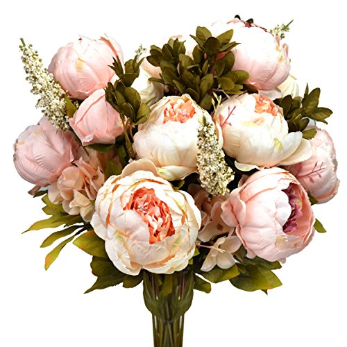 Vintage Artificial Peony Silk Flowers Bouquet, Hmxpls Craft Fake Flowers Floral Decor Glorious Moral for Home Dining-Table Hotel DIY Party Marriage Wedding Christmas Decoration (Light Pink)