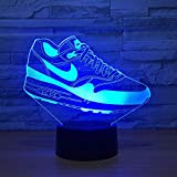 Creative Usb 3D Led Touch Switch Shoes Forma Atmósfera Luz de noche para fanáticos del deporte Dormitorio Movimiento Accesorio de iluminación Lámpara de escritorio