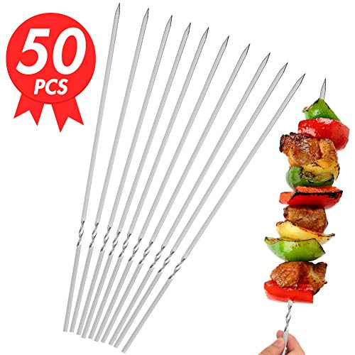 Stainless Steel Barbecue Skewers, 11.5 inch 50PCS Stainless Steel Shish Kebob Sticks Flat Stainless Steel BBQ Set with Holder