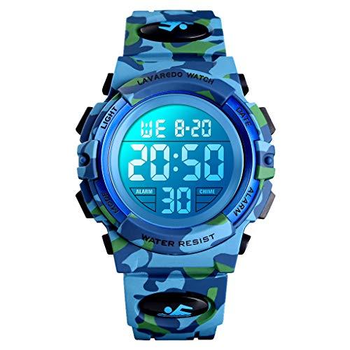 Digital Uhren für Kinder Jungen - 5 ATM Wasserdicht Sports Outdoor Digitaluhren Kinder Silikon Armbanduhr mit Wecker/Stoppuhr/LED-Licht/Stoßfest/Datum,Elektronische Kinderuhren Helles Armee-Blau