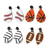 Weiqu 4 paires de baseball football rugby volley-ball larme boucles d'oreilles en acrylique