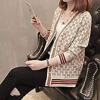 女性用セーターシングルブレストセーターVネック長袖ファッショナブルなプリントニットアウトドアスポーツに最適なデート-beige_One_Size