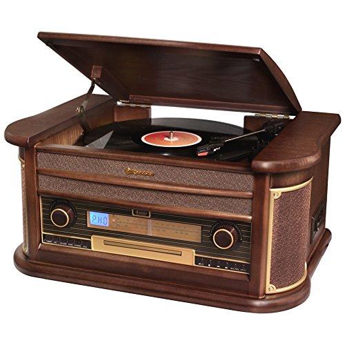 Roadstar hif-1996bt cadena HiFi Vintage con tocadiscos, reproductor de CD/MP3/Cassette y USB–codificación–acabado madera