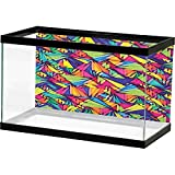 Fish Tank Indie,Geometrical Hipster Pattern with Triangles Vibrant Optical Illusion Artsy Abstract, Multicolor 3D One Side Fish Tank