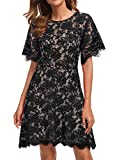 Cocktail Dress for Woman Evening Party Lace Travel Picnic Comfortable Simply Bridesmaid Short Wedding Guest Dresses 943 (XXL, Black White)