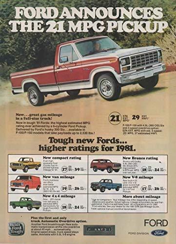 Set of 2 Original Magazine Print Ads: 1981 Tough Ford Pickup Trucks, F-100, F-150, Bronco,'Ford Announces the 21 MPG Pickup'