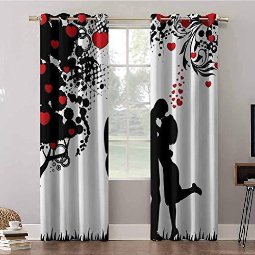 Tende oscuranti per camera da letto, 52 x 108, con motivo a forma di albero astratto con cuori rossi e tendaggi oscuranti, per camera dei bambini (2 pannelli)