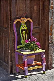 12x8 Print of San Miguel De Allende, Mexico. Colorful Painted Chair Planter (19028835)