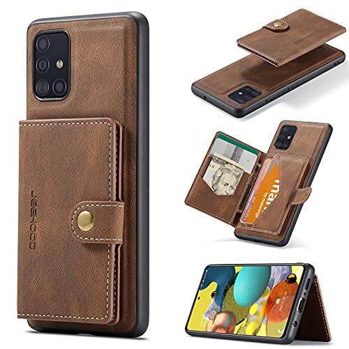 Teléfono Flip Funda Funda de cuero magnética de la billetera para Samsung Galaxy A51 5G con soporte de tarjeta, [Feature KickStand] Duradera cubierta a prueba de golpes con ranuras de tarjetas Tapa tr