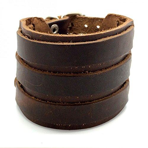 BOBIJOO Jewelry - Bracelet Force Homme Classique Cuir Véritable Marron Trois Triple Largeur 55mm
