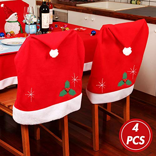 Koogel Christmas Dining Chair Slipcovers,4 Pcs 25x20inch Chair Back Covers Santa Hat Chair Covers for Christmas Banquet Holiday Festival Decor