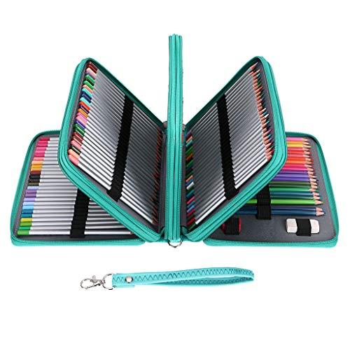 BTSKY PU Leder 200 Einlagen Super große Kapazität mehrschichtige Studenten Buntstifte Wrap Aufbewahrung Tasche Etui Tasche Halter Schreibwaren Organizer (keine Bleistifte) grün