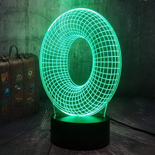 Lámpara de mesa multicolor con letra T 3D Lámpara de decoración de dormitorio de niño multicolor Luz de noche LED multicolor