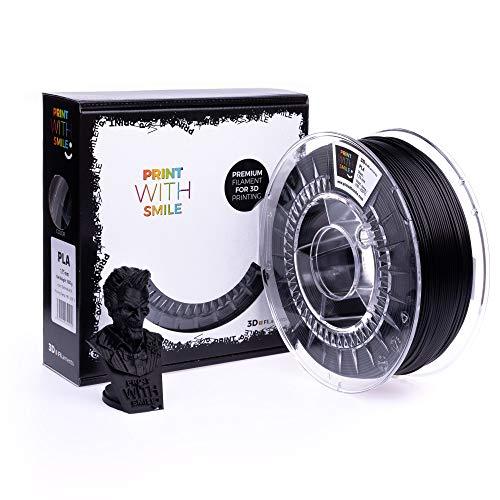 Print with Smile 3D Drucker PLA Filament   1,75 mm für 3D Printer und 3D Stift   hochwertig Filament für 3D-Drucker und 3D-Pen 500 g (Satine Black)