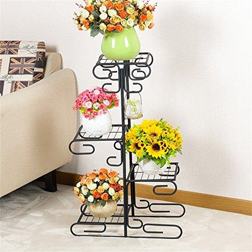 Les grilles élégantes noires de fleur de fer/tiennent le présentoir multifonctionnel d'intérieur de pot de fleur de style de plancher