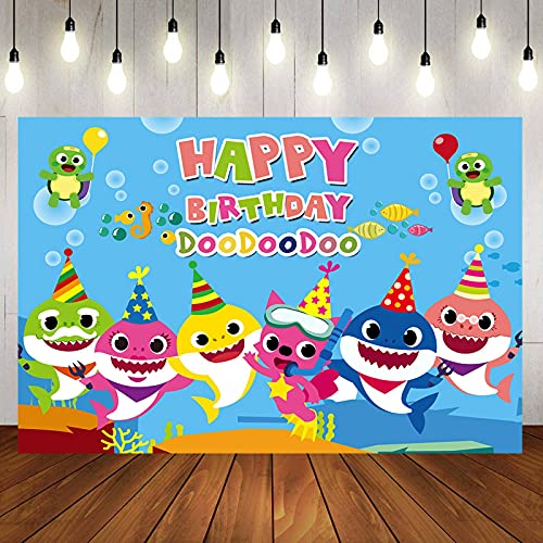 Shark Birthday Party Supplies and Decorations 5X3 FT Photo Backdrop for Boy Girl Baby Shower Kids Bedroom Wall Decor