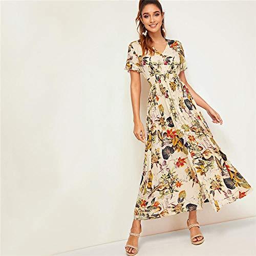 Partykleid Botanical Print Tropical Shirred Taille Knopfleiste Kleid Boho Frauen Apricot V-Ausschnitt Sommerkleid-Aprikose_die