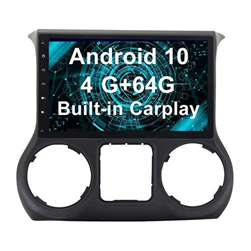 JIBO Android 10 Coche Estéreo Radio GPS Navegación Cabeza Unidad HD IPS Toque Pantalla Sat Nav Bluetooth DSP SWC para 2011-2014 Wrangler Multimedia Jugador Vídeo Receptor