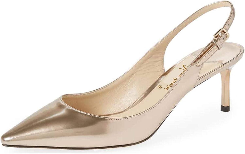 NJ Women Dressy Pointed Toe Thin Low Heel Pumps Slingback Slip on Sandals Stiletto shoes
