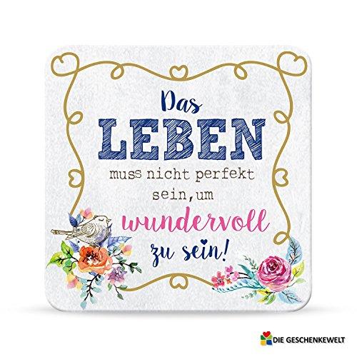 Sheepworld, My Beautytree - 44603 - Untersetzer Nr. B5, Das Leben muss nicht perfekt sein, um wundervoll zu sein!, Kork, 9,5cm x 9,5cm