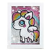 QIAONIUNIU Diamond Painting Kits for Kids, Dot Art Crafts Animals Unicorn Pony with Frame