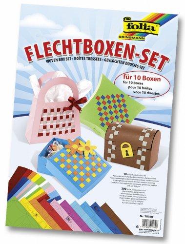 folia 70290 - Flechtboxen - Set, Papierboxen- und -taschen mit Flechtstreifen verschönert, Bastelset für 10 Boxen, toll zum Verschenken und für kreative Kinder