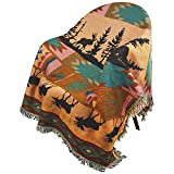 PHNAM Indian Throw Blanket with Fringe for Couch Bed Soft Decorative Cozy Woven Knit Warm Bed Throws Reversible for Chair, Sofa, Living Room, Bedroom (51x63 inches) (Indian Style)