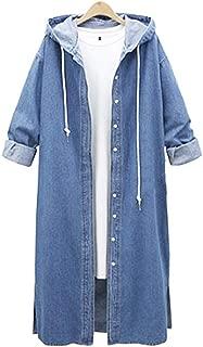 Coat for Women, Pervobs Women Denim Jacket Casual Long Sleeve Hooded Long Coat Outwear Overcoat
