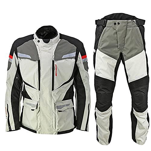 LITI Chaqueta De Moto De Motocicleta Textil Impermeable Pantalones 2 Piezas Traje con Protecciones CE Y Forro Térmico