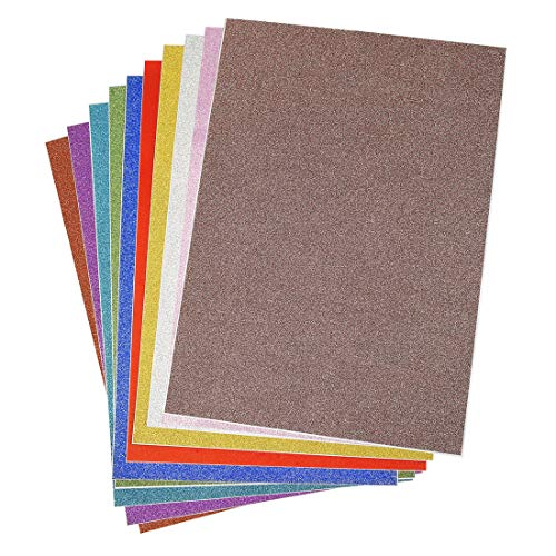 ZIIYAN 10 Sheets Multicolor A4 Glitter Cardstock Paper for DIY Craft Projects, Scrapbooking, Holidays, Weddings, Birthday Party, Surprise Parties Decorations