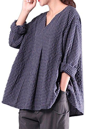 Yulinge Les Femmes du Coton Et Lin Chemisiers Et Blouses Manches Longues Chemise T-Shirt Top Vintage Grande Taille Blue 5XL