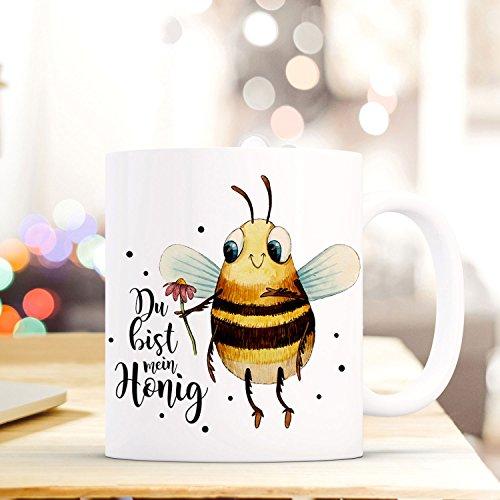 ilka parey wandtattoo-welt Tasse Becher mit Biene Blume & Spruch Du bist Mein Honig Zitat Geschenk Kaffeebecher mit Motto ts573