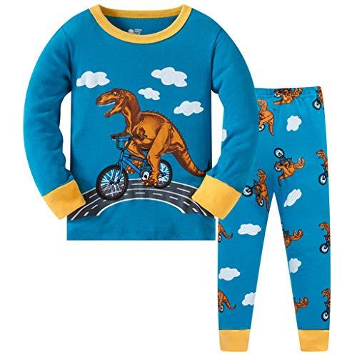 HIKIDS Jungen Schlafanzug Dinosaurier Baumwolle Pyjamas Kinder Zweiteiliger Nachtwäsche Langarm Shirt und Pyjamahose 6-7 Jahre