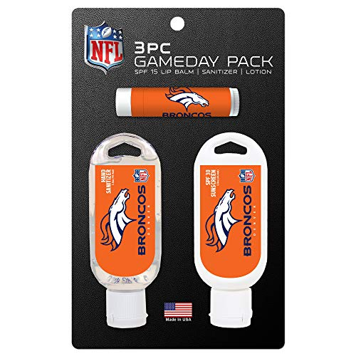 Worthy Promo NFL Denver Broncos Game Day Pack Includes 1 Lip Balm, 1 Hand Sanitizer and 1 SPF Sunscreen (3-Piece), 8 x 5 x 1.5-Inch, White